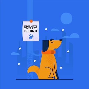 Concepto de perro abandonado