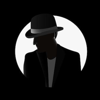 Concepto de personaje de gángster misterioso