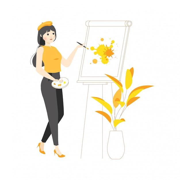 Concepto de personaje lineal ilustración pintura sobre lienzo artista dibujo pintura