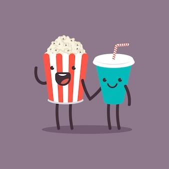 Concepto de personajes divertidos palomitas de maíz y refrescos.