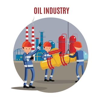 Concepto de personajes de la industria petrolera