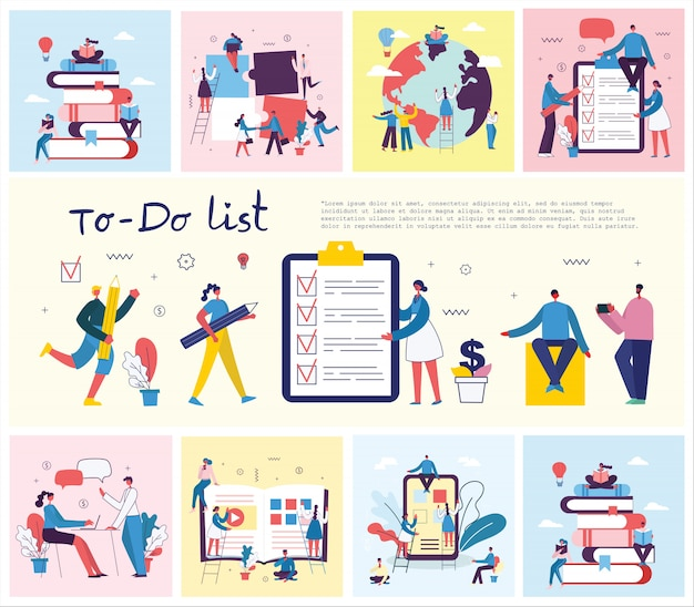 Concepto de personajes que trabajan con to do list. ilustración de planificación, gestión de proyectos, lluvia de ideas en el diseño plano moderno