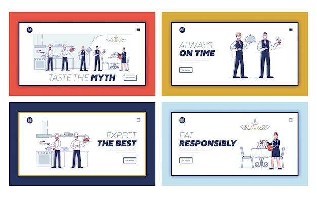 Concepto de personal, servicio y proceso de trabajo de restaurante.