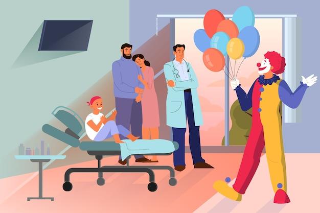 Concepto de personas de ayuda voluntaria. la comunidad de caridad apoya al pequeño paciente con cáncer. payaso visita a un niño con cáncer en el hospital. ilustración