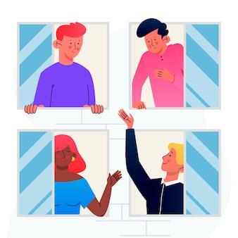 Concepto de personas en balcones