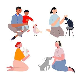 Concepto de personas con diferentes mascotas