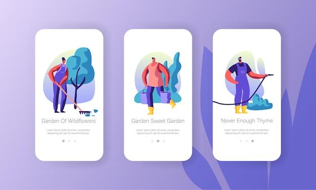 Concepto de personas de jardinería para sitio web o página web, personajes que cultivan y cuidan las plantas en el jardín, página de la aplicación móvil de hobby de temporada de verano, conjunto de pantalla a bordo, ilustración vectorial plana de dibujos animados
