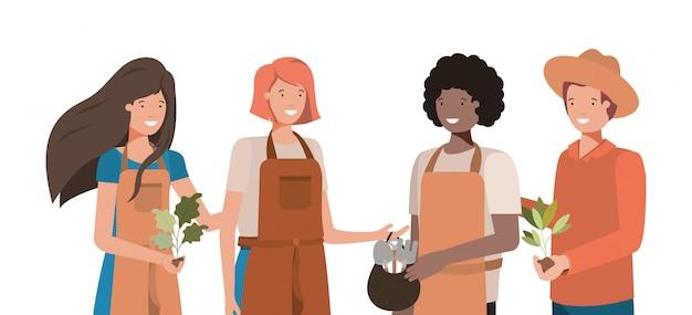 Concepto de personas y jardinería