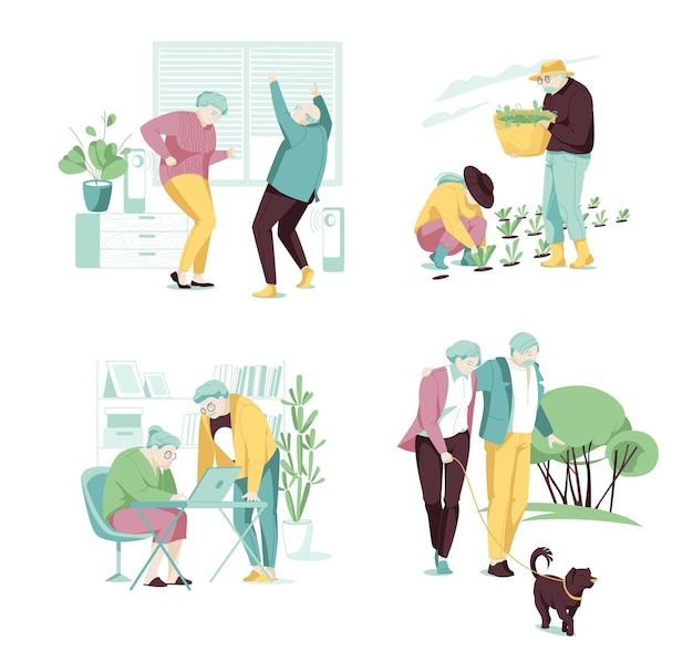 Concepto de personas mayores activas parejas de ancianos plantando