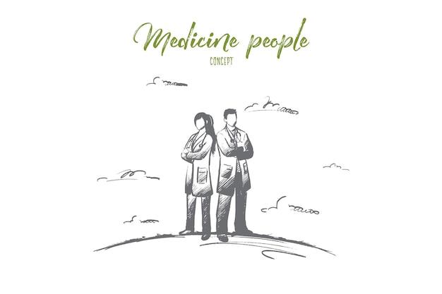 Concepto de personas de medicina. personal médico dibujado a mano en bata blanca. personal de medicina listo para ayudar al paciente aislado ilustración.