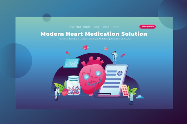 Concepto de personas pequeñas solución moderna de medicación para el corazón de la página de inicio de encabezado de página web médica y científica