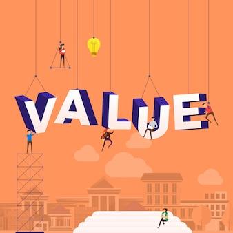 Concepto personas que trabajan para la construcción de texto valor. ilustración.