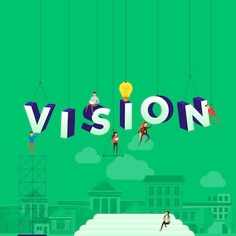 Concepto personas que trabajan para la construcción de texto vision. ilustración.