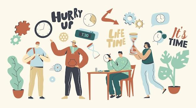 Concepto de personas y tiempo. personajes masculinos y femeninos con reloj. maestro repara reloj roto en el taller, estudiante se apresura en lecciones universitarias, mujer lleva un enorme reloj de arena. ilustración vectorial lineal