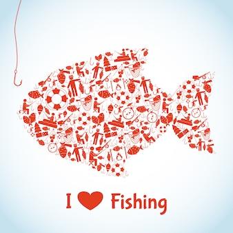Concepto de pesca de amor