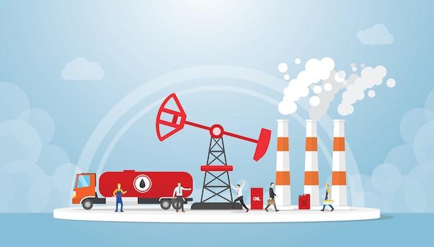 Concepto de petróleo y gas con camión cisterna y refinería de petróleo con gente alrededor