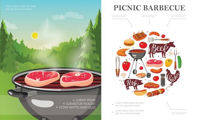 Concepto de picnic de fin de semana plano con parrilla de barbacoa en el paisaje forestal verduras utensilios de barbacoa salchichas de carne