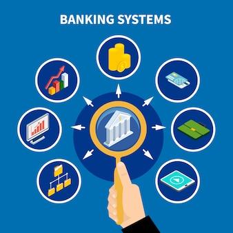 Concepto de pictograma de sistemas bancarios