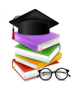 Concepto de pila de libros y gorro de graduación
