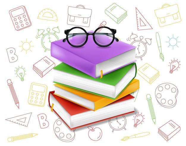 Concepto de pila de libros