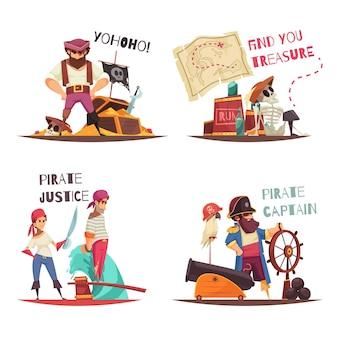 Concepto de pirata con personajes humanos planos de capitán pirata de dibujos animados y marineros con subtítulos de texto