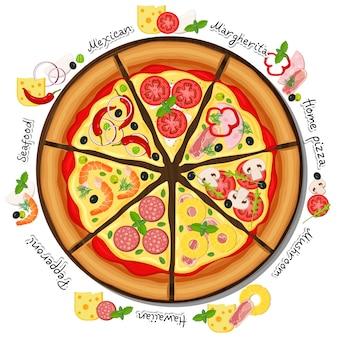 Concepto de pizza en rodajas