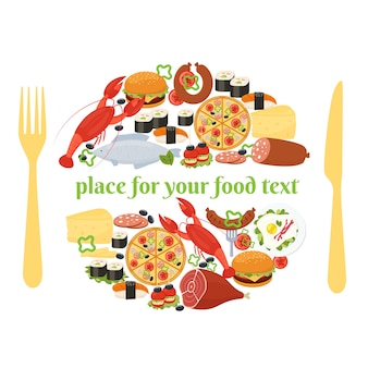 Concepto de placa de comida de un lugar con los iconos de comida dispuestos en un círculo como si estuvieran en un plato con un cuchillo y un tenedor a cada lado y copyspace central para el texto