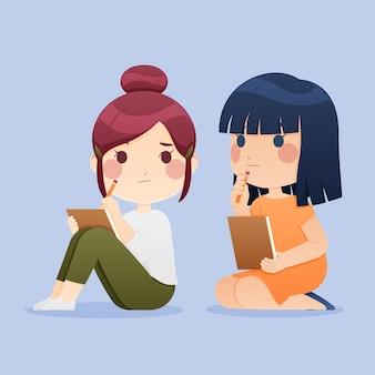Concepto de plagio con dibujos animados de chicas