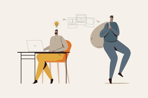 Concepto de plagio ilustrado con ladrón y hombre teniendo una idea