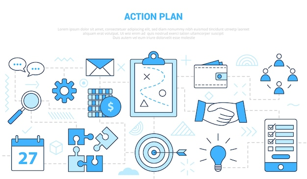 Concepto de plan de acción empresarial con banner de plantilla de conjunto de iconos con ilustración de estilo de color azul moderno