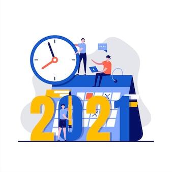 Concepto de plan con carácter, reloj, calendario.