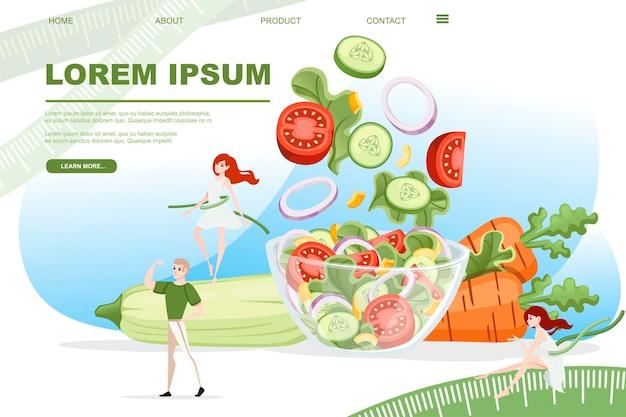 Concepto de plan de dieta con tazón lleno de ensalada de verduras y personas alrededor del diseño de personajes de dibujos animados
