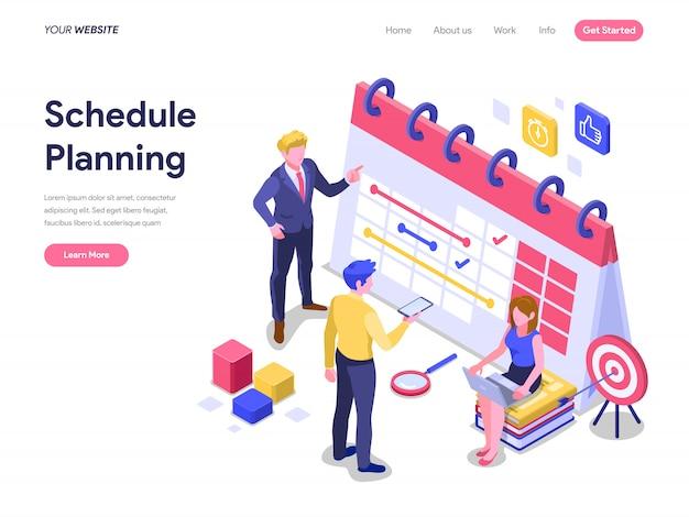 Concepto de planificación de horarios para la página de destino, el sitio web y la página de inicio