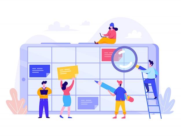 Concepto de planificación de horarios para la página de inicio, la interfaz de usuario, la web y la página de inicio