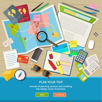 Concepto de planificación de vacaciones y viajes. bandera
