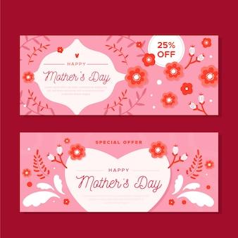Concepto plano de banners del día de la madre