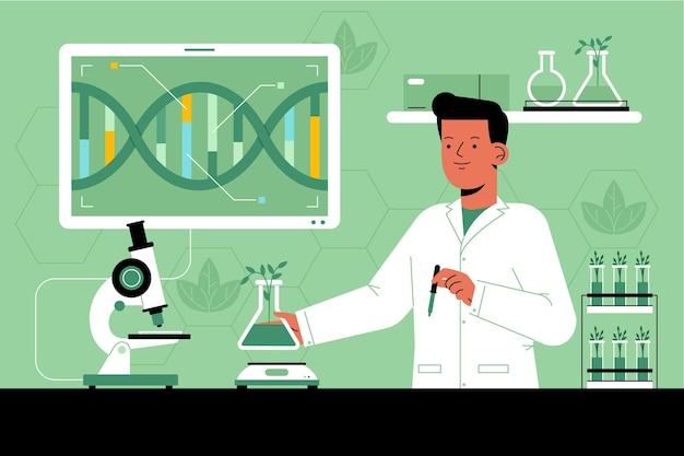 Concepto plano de biotecnología con investigador.