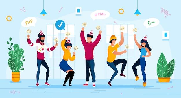 Concepto plano de celebración de fiesta corporativa