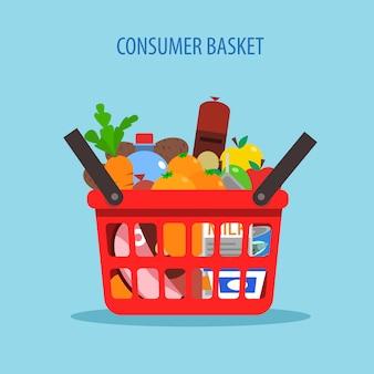 Concepto plano de la cesta de compras