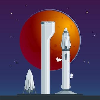 Concepto plano de cohete y nave espacial