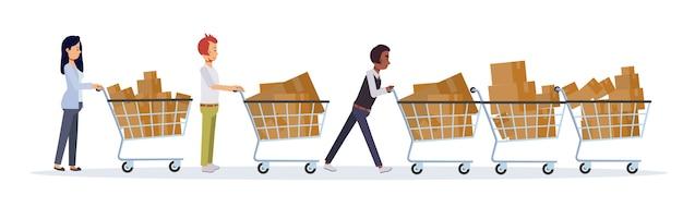 Concepto plano comercial de promoción y descuento. viernes negro mujeres y hombres empujan su carrito de compras. muchas cosas en el carrito.