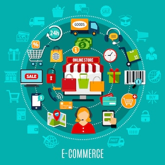 Concepto plano de comercio electrónico