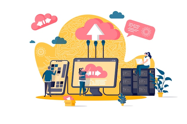 Concepto plano de computación en la nube con ilustración de personajes de personas