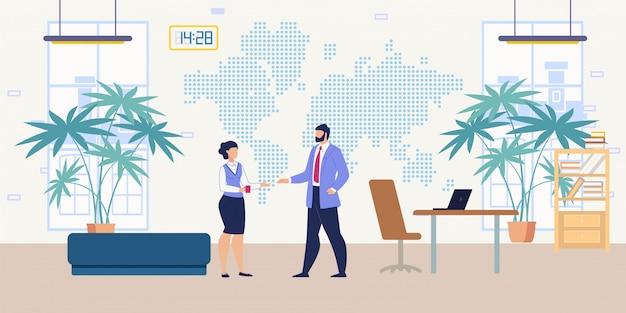 Concepto plano de comunicación de trabajadores de oficina