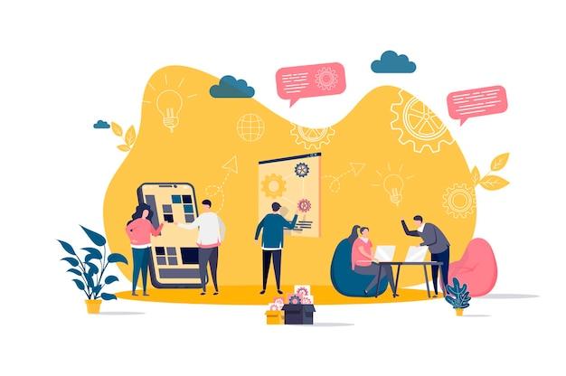 Concepto plano de coworking con ilustración de personajes de personas