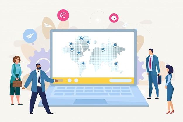 Concepto plano de crecimiento de negocios internacionales
