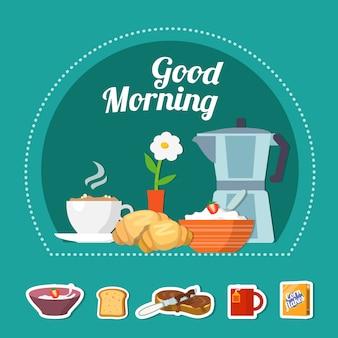 Concepto plano de desayuno