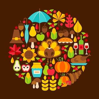 Concepto plano del día de acción de gracias. ilustración de vector. conjunto de vacaciones de otoño.