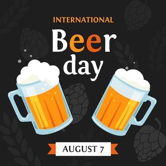Concepto plano del día internacional de la cerveza