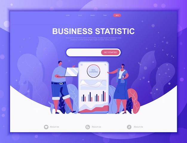 Concepto plano de estadística empresarial, plantilla web de página de destino